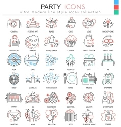 Party disco ultra modern outline line icons vector