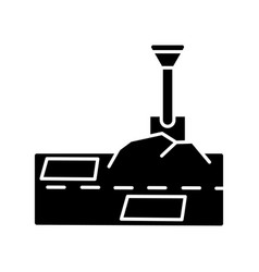 Patching works black glyph icon roadworks vector