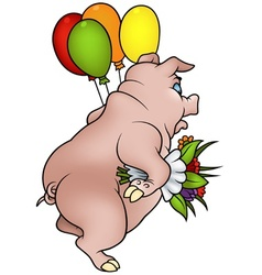 Piglet And Bouquet vector image