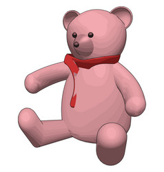 pink teddy bear with red scarf on white background vector image