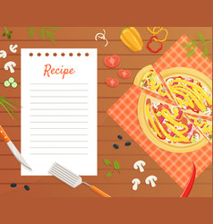 Pizza recipe blank card or sheet template for vector
