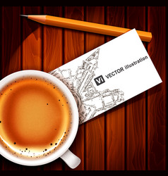 realistic cup of coffee with card vector image