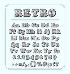 Retro font on light blue background alphabet vector