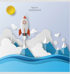 Rocket launch icon abstract background vector