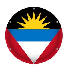 Round metallic flag - antigua and barbuda screws vector