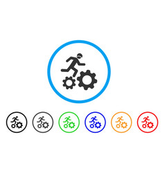 Running developer over gears rounded icon vector