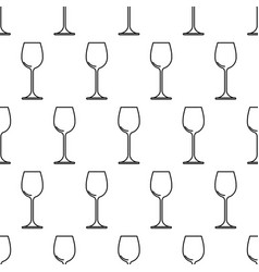 seamless pattern from wine glass black contour on vector image