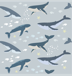Seamless whales background vector