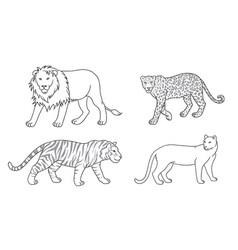 Set big cats in contours vector