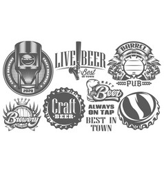 Set monochrome patterns on theme beer vector