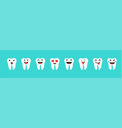 set of teeth with emotions in white color on blue vector image
