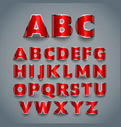 Shiny red font alphabet design vector