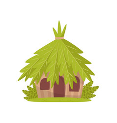 small hut in tropical jungle vector image