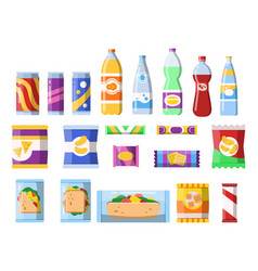 snacks and drinks merchandising products fast vector image