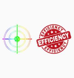 spectrum pixelated bullseye icon and grunge vector image