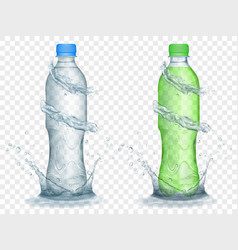 Transparent plastic bottles with water crowns vector