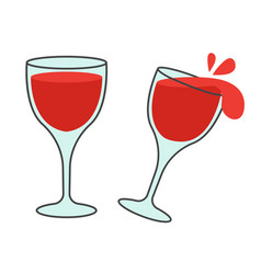 Two glasses with wine flat icons vector
