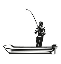 Vintage monochrome fishing concept vector