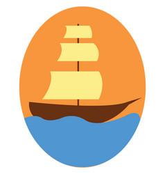 vintage sailor ship floating on blue water or vector image