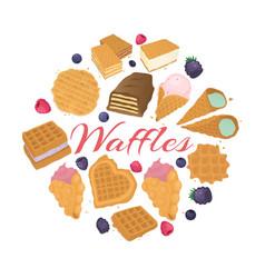 waffle dessert food backgrond vector image