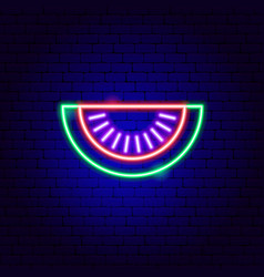 watermelon slice neon sign vector image
