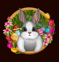 White bunny in frame with flowers isolated on dark vector