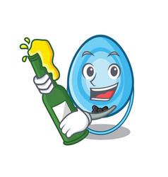 With beer oxygen mask mascot cartoon vector