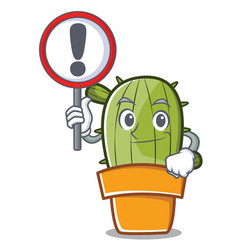 with sign cute cactus character cartoon vector image