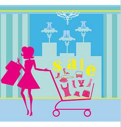 Woman pushing shopping cart vector