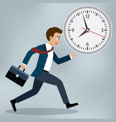 business man running and hurry up vector image vector image