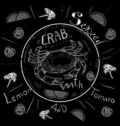 lettering crab menu fresh crab seafood menu vector image vector image