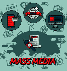 Mass media flat concept icons vector