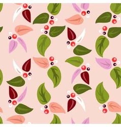 seamless background with leaves and berries vector image