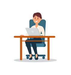 smiling businesswoman sitting at the desk working vector image vector image