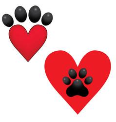 adopt dog paw heart animal help vector image