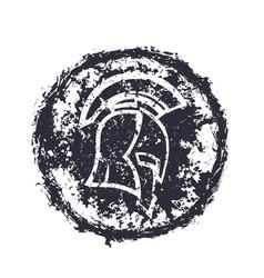 grunge spartan helmet t-shirt print vector image vector image