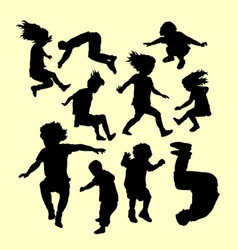 Happy playing and sport training silhouette vector
