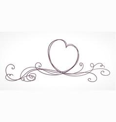 heart shape ribbon vector image vector image