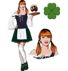 irish girl with beer vector image vector image