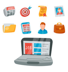 job search icon set office concept human vector image