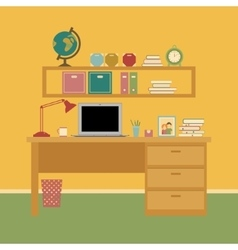 Office room interior workspace vector image