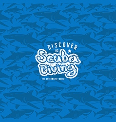 Shark seamless pattern and scuba diving emblem vector image vector image