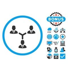 Teamwork Flat Icon with Bonus vector image