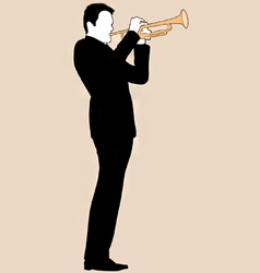 trumpet player silhouette vector image