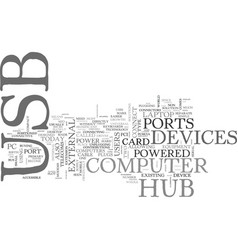 What s a usb hub text word cloud concept vector