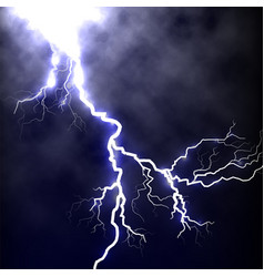isolated realistic lightning in the dark blue sky vector image vector image
