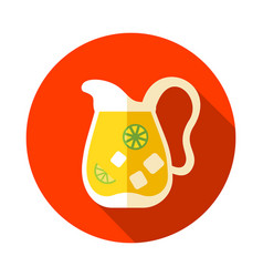 jug of lemonade with slices of citrus and ice icon vector image