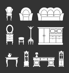 Set icons of retro furniture and home accessories vector image