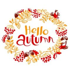 Fall season floral wreath vector
