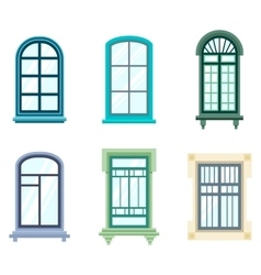 Set of isolated house window frames vector image vector image